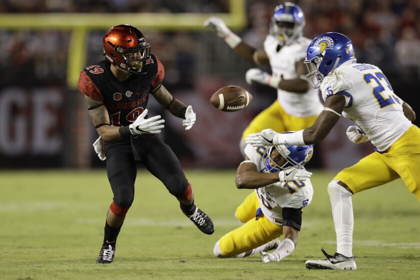 San Jose State safety Trevon Bierria, right, is about to hit San Diego State running back Donnel Pumphrey, left, during the first half. Bierria was called for targeting and ejected.