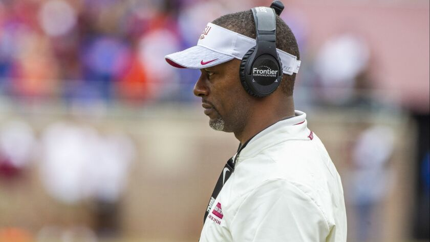 Florida State head coach Willie Taggart in the 1st half of an NCAA college football game against Flo