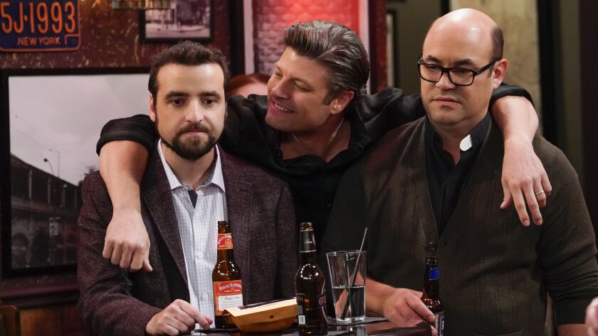 "David Krumholtz, left, Jay R. Ferguson and Ian Gomez in the season finale of ""Living Biblically"" on CBS."