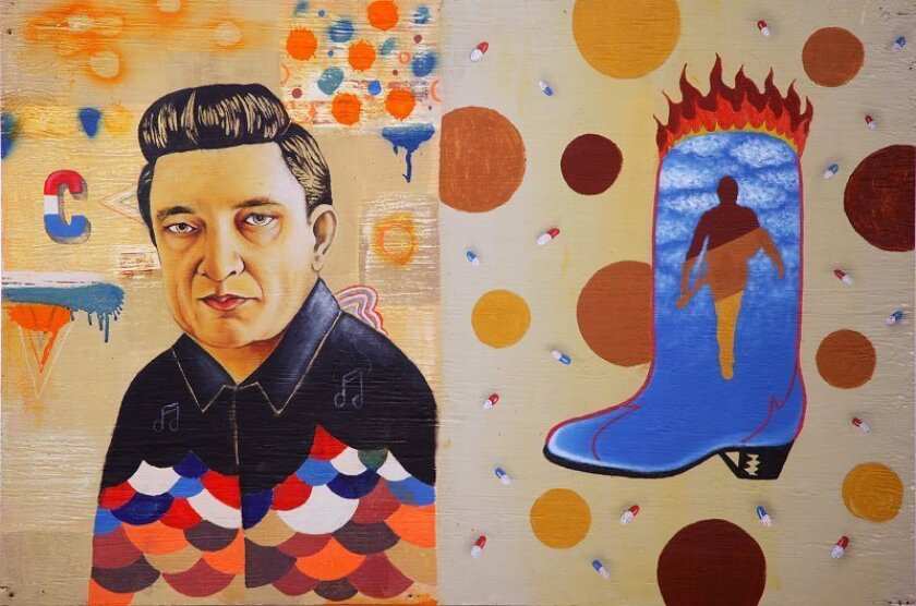 "Matt Stalling, a nominee in the San Diego Prize's emerging artist category, has a droll, elegiac painting, ""Johnny Cash: From the Fire to the Clouds,"" in the ""New Contemporaries 2,"" a show that features all the nominees."