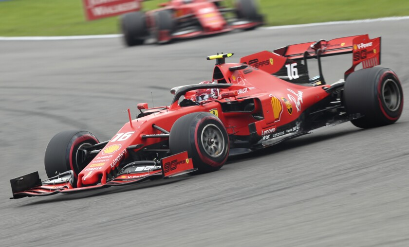Ferrari driver Charles Leclerc steers his car to victory at the Belgian Grand Prix on Sunday.