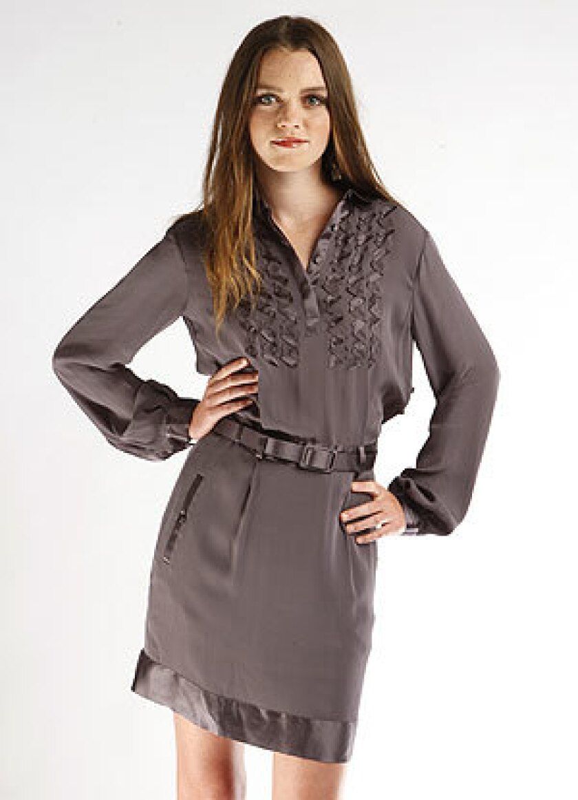 A pewter ruffle-front silk shirtdress.