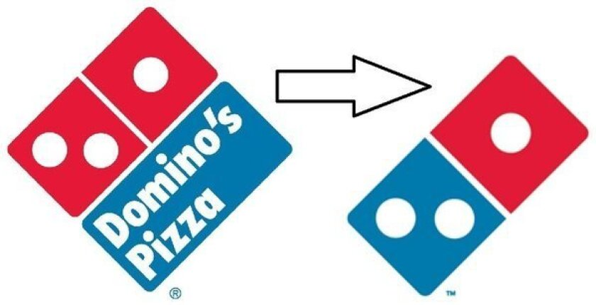 Domino's former and new logos.