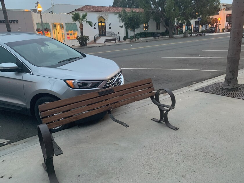 This and another bench in the 7900 block of Girard Avenue in La Jolla were vandalized the night of Aug. 23.