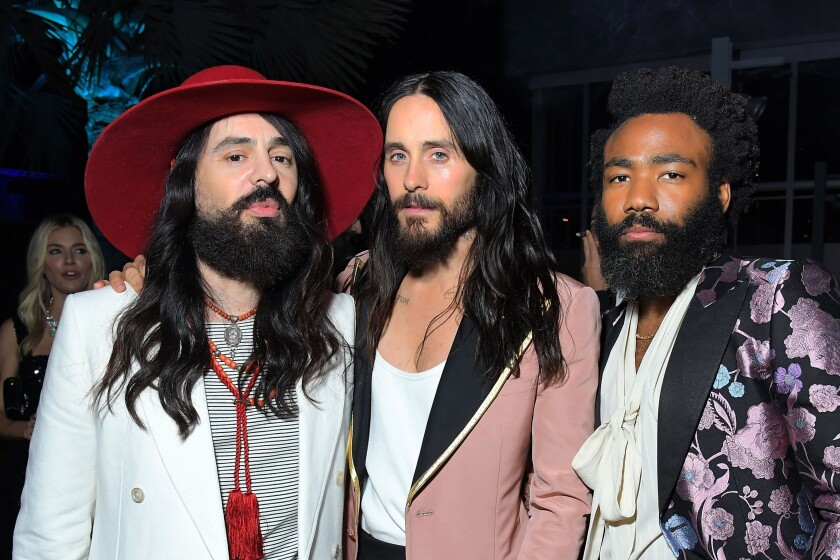 LOS ANGELES, CALIFORNIA - NOVEMBER 02: (L-R) Alessandro Michele, Jared Leto, and Donald Glover, all wearing Gucci, attend the 2019 LACMA Art + Film Gala Presented By Gucci at LACMA on November 02, 2019 in Los Angeles, California. (Photo by Charley Gallay/Getty Images for LACMA)