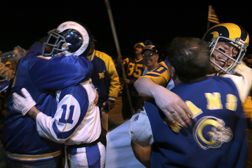 Rams fans rally at Hollywood Park on Jan. 12 to celebrate the NFL's decision to allow the Rams to relocate to Inglewood from St. Louis.