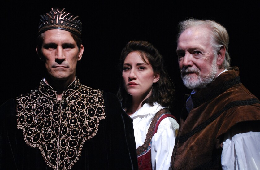 """Francis Gercke, Caitie Grady and Robert Smyth (from left) star in """"Equivocation"""" at Lamb's Players Theatre."""