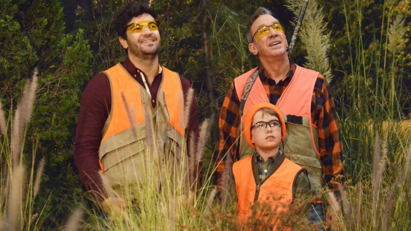 """Jordan Masterson, Flynn Morrison and Tim Allen in """"Last Man Standing,"""" the sitcom canceled by ABC which returns to Fox this fall."""