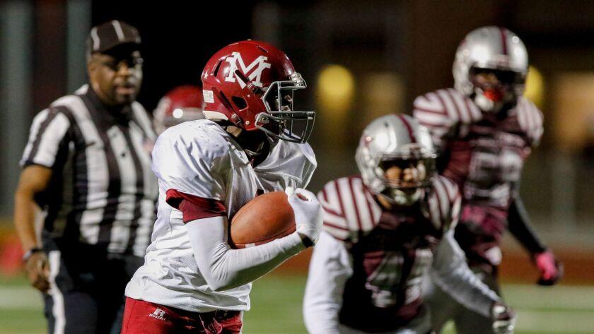 Monte Vista sophomore Jahmon McClendon scored five touchdowns in the Monarchs' win over Kearny.