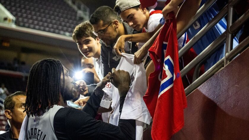 LOS ANGELES, CALIF. -- MONDAY, OCTOBER 8, 2018: L.A. Clippers power forward Montrezl Harrell signs a