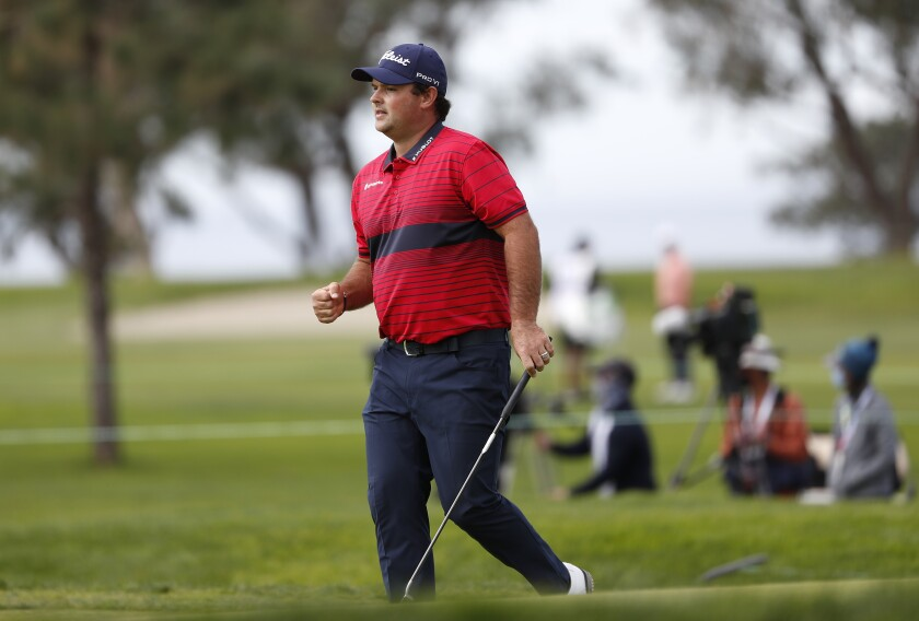 Patrick Reed reacts to eagle on No. 6 Sunday during Farmers Insurance Open