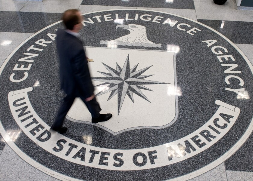 The lobby of CIA headquarters in Langley, Va., is shown.