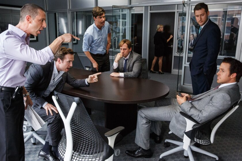 """Jeremy Strong, from left, Rafe Spall, Hamish Linklater, Steve Carell, Jeffry Griffin and Ryan Gosling in the film, """"The Big Short."""""""