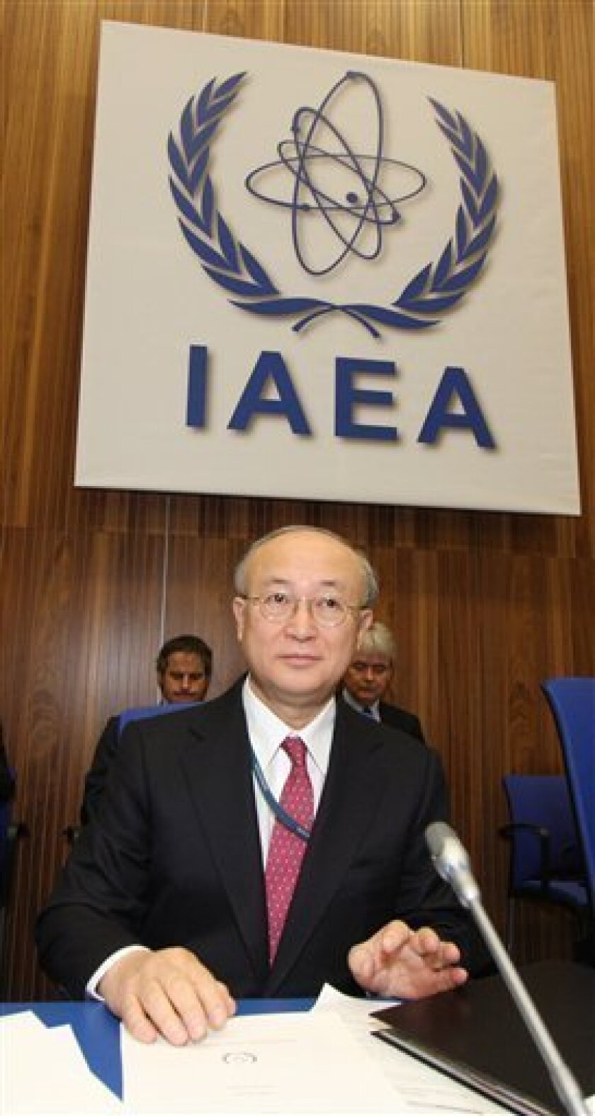 Director General of the International Atomic Energy Agency, IAEA, Yukiya Amano from Japan waits for the start of IAEA's board of governors meeting at Vienna's International Center, on Monday, March 1, 2010. (AP Photo/Ronald Zak)