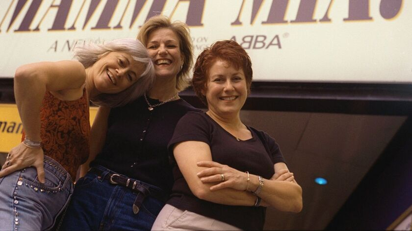 """Judy Kaye (right), pictured with """"Mamma Mia!"""" cast mates Louise Pitre (left) and Karen Mason in 2001, will play Queen Elizabeth in La Jolla Playhouse's """"Diana."""""""
