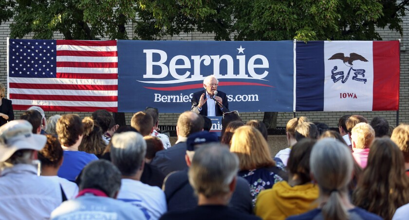 Democratic presidential candidate U.S. Sen. Bernie Sanders speaks in Dubuque, Iowa, on Monday.