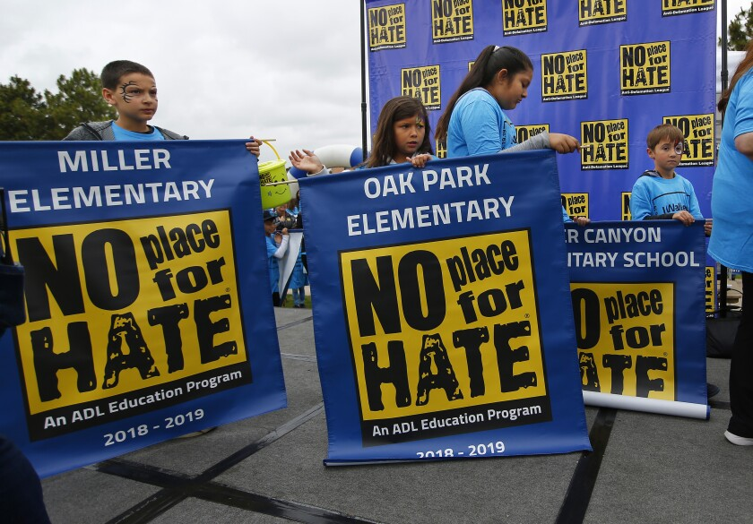 Elementary schools get ready to walk in the 2nd annual Walk Against Hate, which raised money for the Anti-Defamation League's programs in Liberty Station on May 19, 2019.