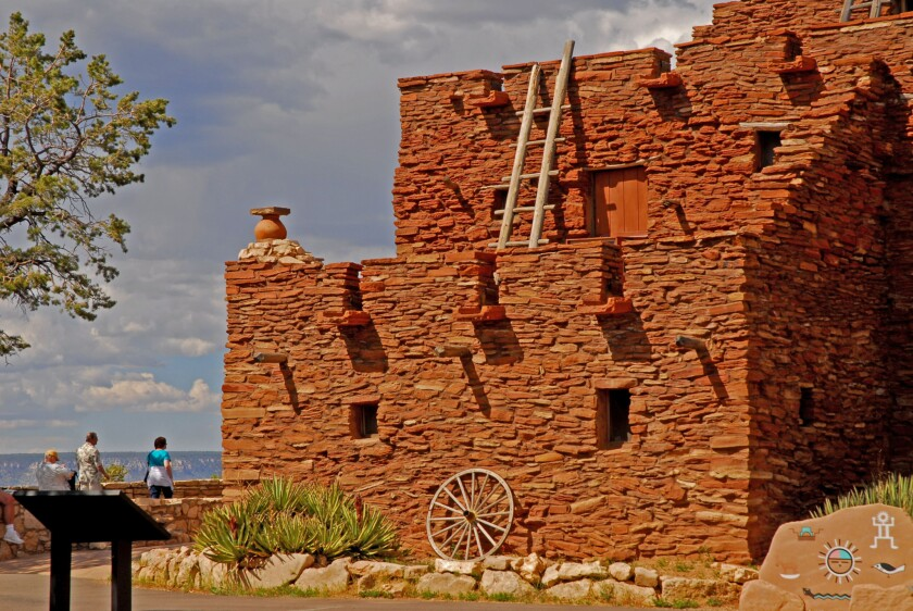 The century-old Hopi House sits opposite the El Tovar Hotel, on the South Rim of the Grand Canyon.