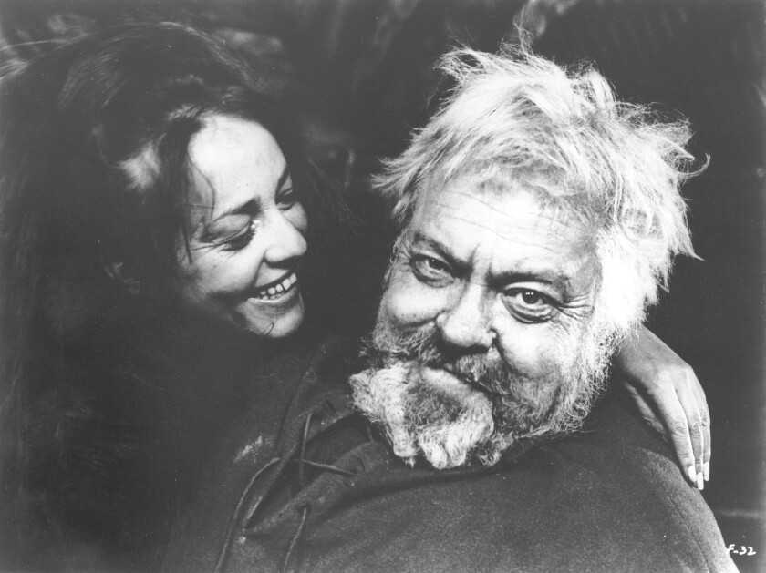 """Jeanne Moreau plays Doll to Welles' Sir John Falstaff in the finely restored """"Chimes at Midnight."""""""