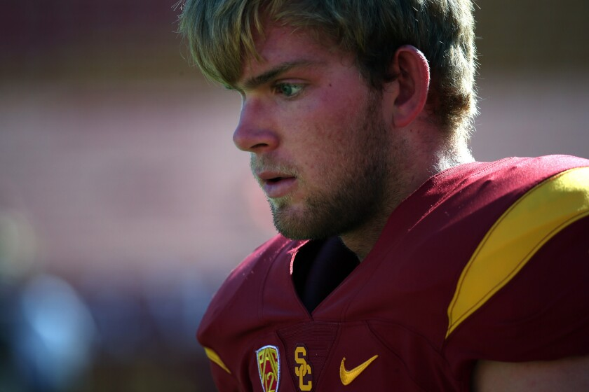 USC long snapper Jake Olson stands on the sideline before the Trojans' game against Stanford on Sept. 19.