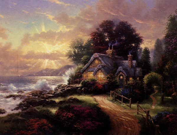 Cozy, comfy scenes are a hallmark of painter Thomas Kinkade, whose work brought forth a multimillion-dollar franchise. An untitled painting depicts a cottage in an idyllic rural setting.