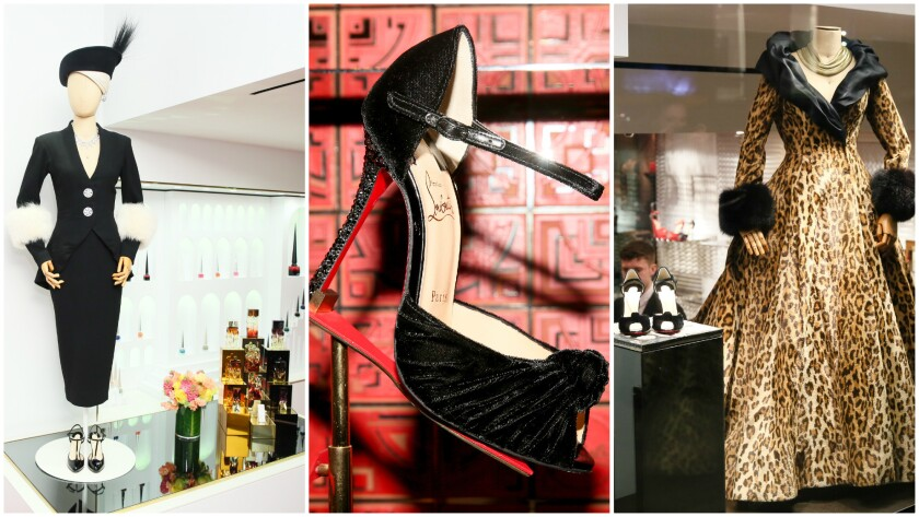 "Costumes from ""Sunset Boulevard"" on Broadway; and the Christian Louboutin shoe inspired by ""Sunset Boulevard."""