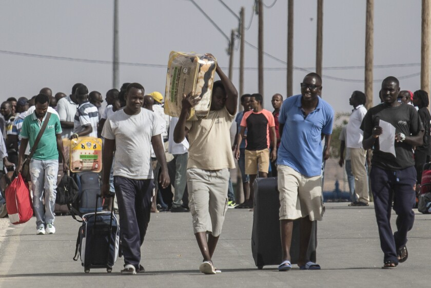 Israel released hundreds of African migrants from the Holot detention center in the Negev desert on Aug. 25, 2015.