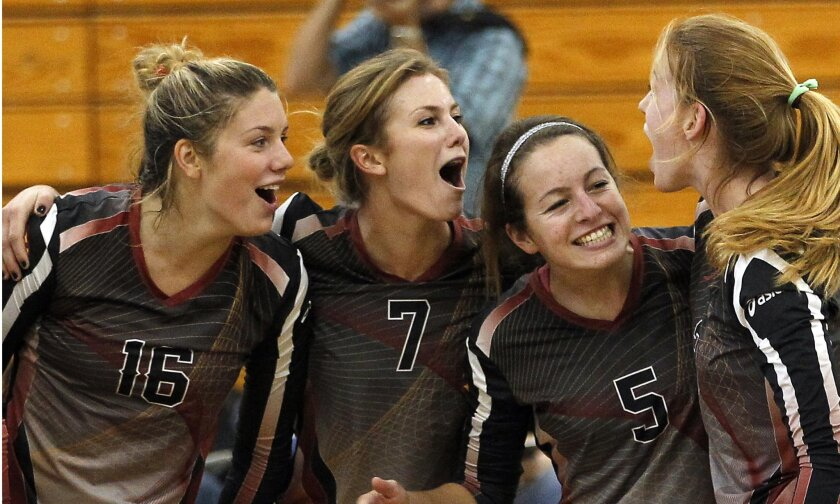 Torrey Pines setter Erin Dobson (third from left) stepped in for injured Ryann Chandler to lead the Falcons to a fourth-place finish in Santa Barbara.