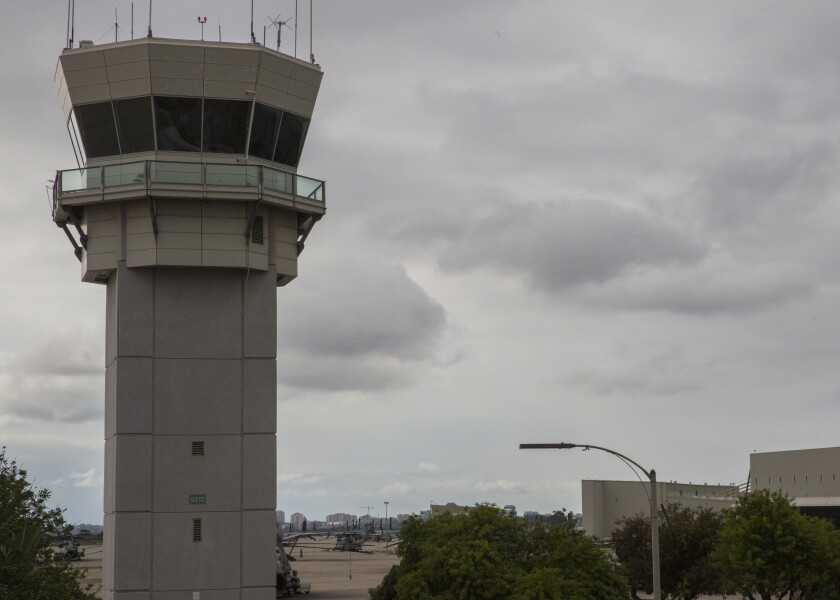 The tower, where air traffic control Marines work, overlooks the flight line at Marine Corps Air Station Miramar.