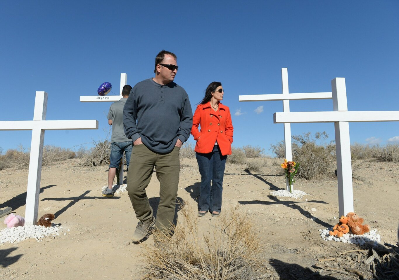 Family members and friends of the McStay family whose bodies were found in November 2013 in the San Bernardino County desert gathered at the site last year to remember them. Crosses were placed and doves were released where the Fallbrook family's remains were found.