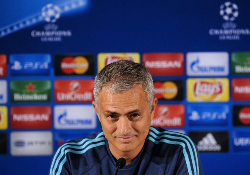 FILE- In this Monday, Sept. 28, 2015 file photo, the then Chelsea manager Jose Mourinho attends a press conference at FC Porto's Dragao stadium in Porto, Portugal. Manchester United announced on Friday May 27, 2016, they hired Jose Mourinho as its third manager in three years on Friday, entrusting