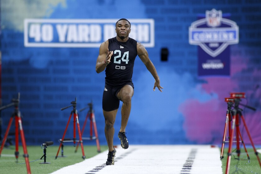 Defensive back Jeff Okudah of Ohio State runs the 40-yard dash during the NFL combine.