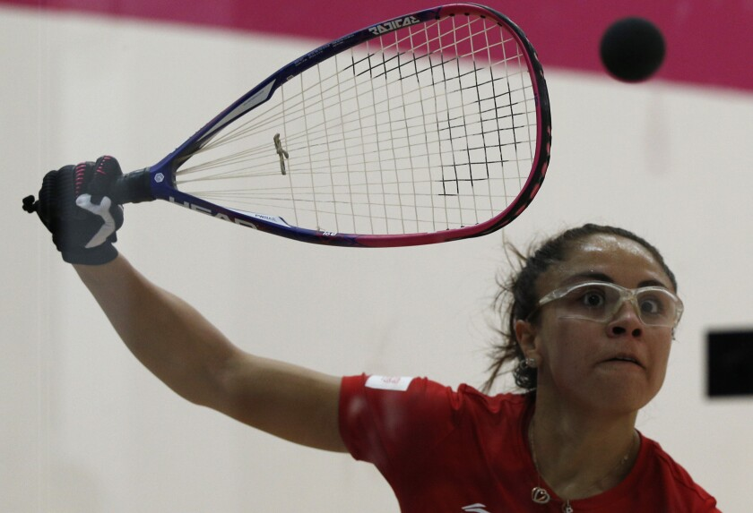 Paola Longoria of Mexico returns a shot during a women's racquetball singles semifinals match against Natalia Mendez of Argentina, at the Pan American Games in Lima Peru, Tuesday, Aug. 6, 2019. (AP Photo/Juan Karita)