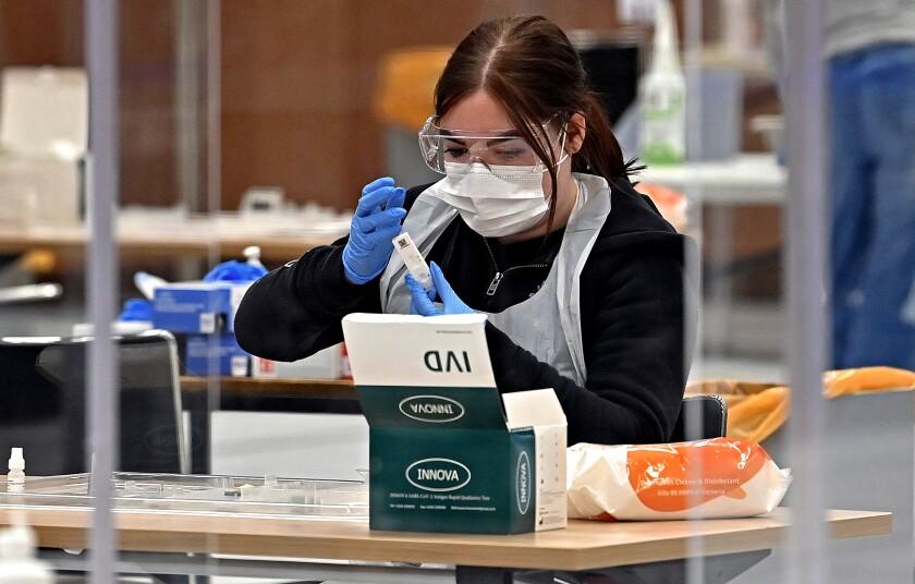 A worker processes an Innova COVID-19 test on a swab.