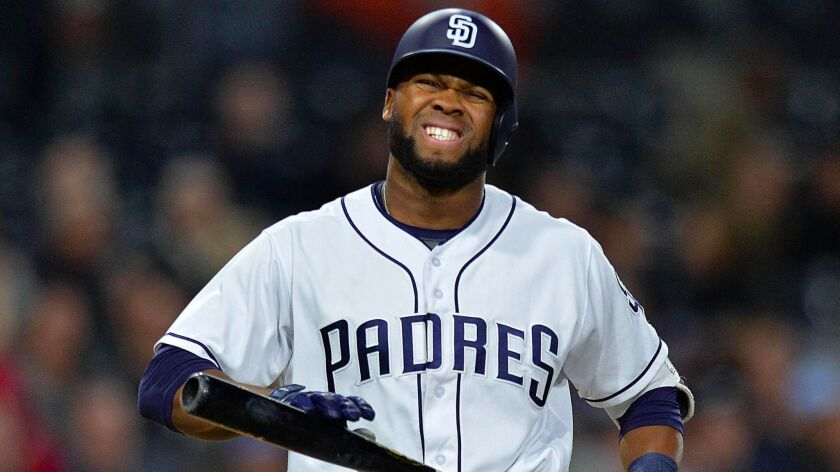 San Diego Padres center fielder Manuel Margot reacts after striking out against the Milwaukee Brewers during the third inning at Petco Park.