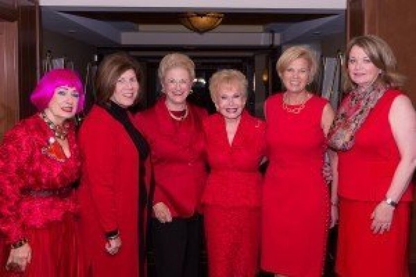 Trisha Khaleghi, 2014 'Go Red for Women' chair (second from right), with the American Heart Association's five 'Legendary Women' for 2014: Zandra Rhodes (left), Dr. Mary Lyons, Judy White, Lee Goldberg and Debbie Turner. Courtesy photo