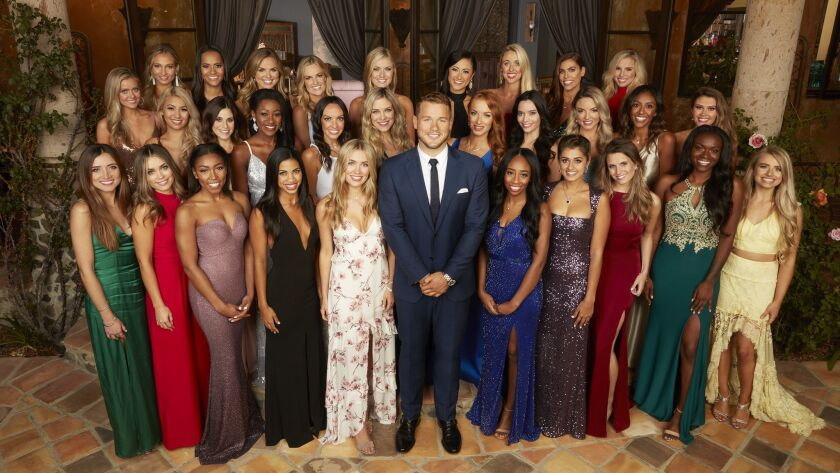 FRONT: NICOLE. CAITLIN, ANGELIQUE, KATIE, CASSIE, COLTON UNDERWOOD, COURTNEY, KIRPA, ALEX D.TAHZJUAN, DEMIMIDDLE: HANNAH G, REVIAN, JANE, ONYEKA, TRACY, NINA, ELYSE, LAURA, ERIN, TAYSHIA, CAELYNN RE