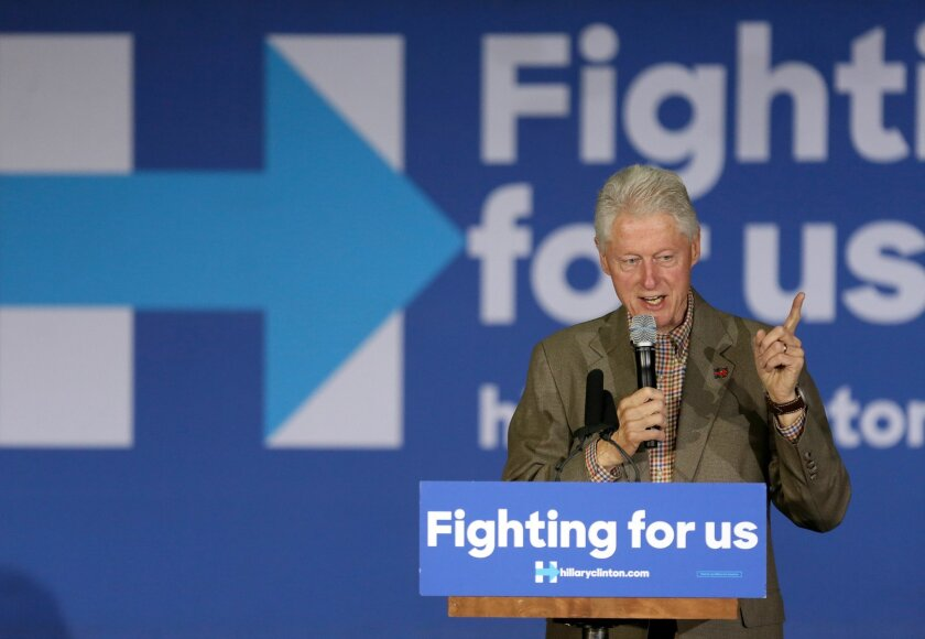 Former President of the United States Bill Clinton speaks at Bonita Vista High School Saturday on behalf of his wife, presidential candidate Hillary Clinton.