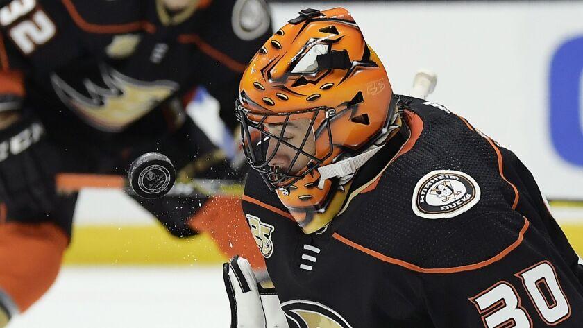 Ducks goaltender Ryan Miller stops a shot during the third period against the Philadelphia Flyers.