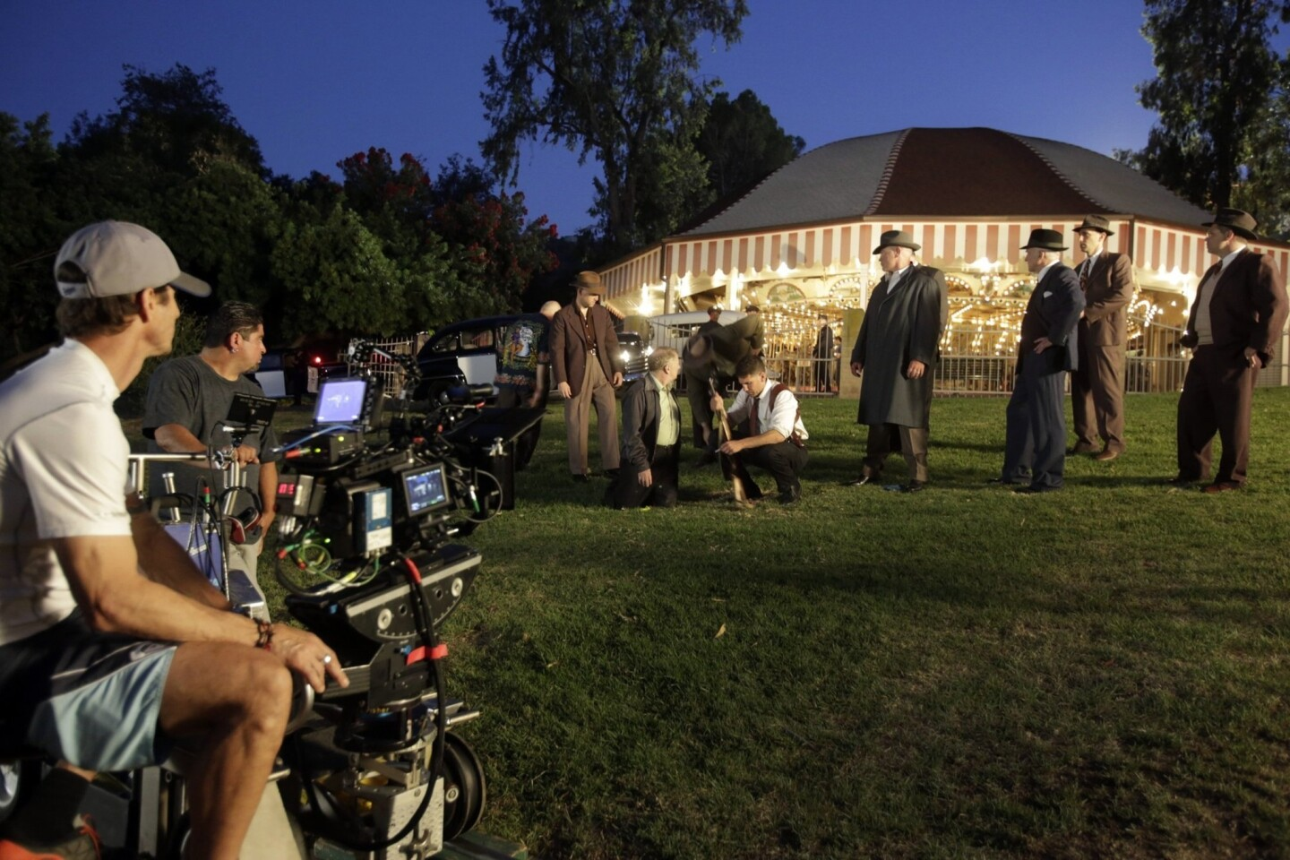 "The cast and crew of the 1940s-set crime drama ""Mob City"" on location in Griffith Park in Los Angeles."