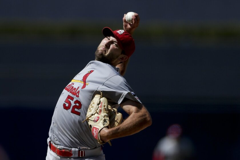 St. Louis Cardinals starting pitcher Michael Wacha works against a San Diego Padres batter during the fifth inning of a baseball game Sunday, Aug. 23, 2015 in San Diego. (AP Photo/Gregory Bull)
