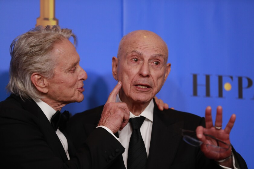 """Michael Douglas, left, and Alan Arkin stars of Netflix's """"The Kominsky Method,"""" after the show won the Golden Globe for musical or comedy TV series."""