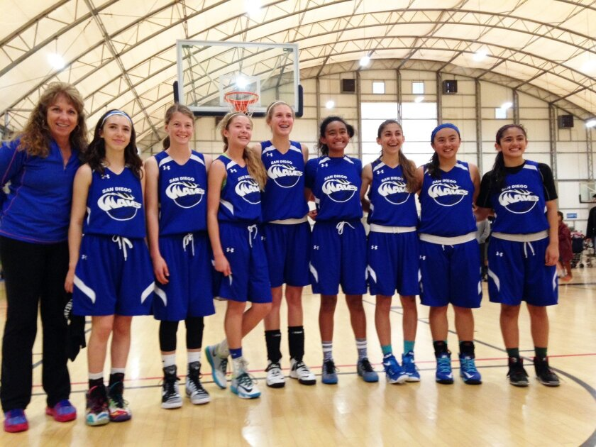 The San Diego Waves girls basketball team (eighth-grade division champs) went undefeated for the season.