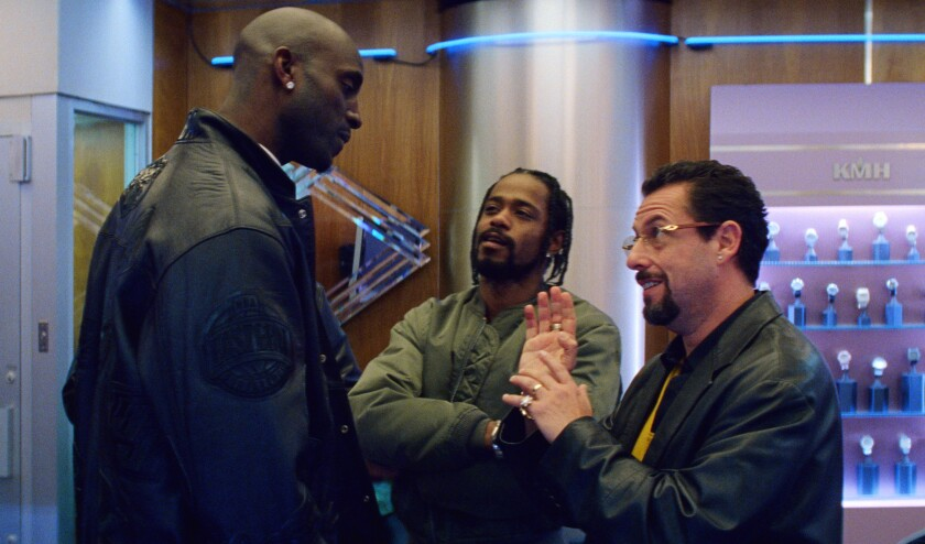 """Kevin Garnett, from left, Lakeith Stanfield and Adam Sandler in """"Uncut Gems."""""""
