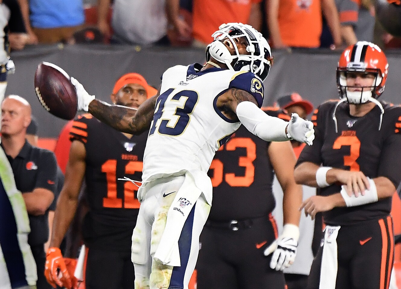 CLEVELAND, OHIO SEPTEMBER 22, 2019-Rams safety John Johnson celebrates his interception inthe end zone to seal the game against the Browns inthe 4th quarter at First Energy Stadium in Cleveland Sunday. (Wally Skalij/Los Angeles Times)