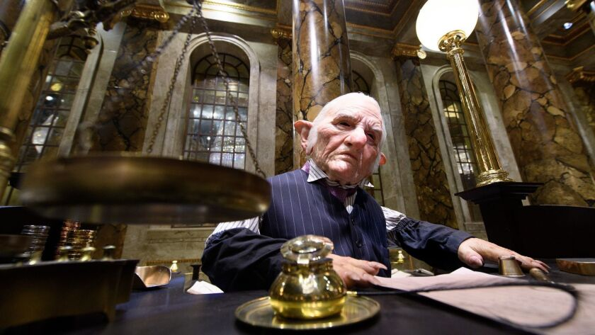 "A goblin is at work at the ""Harry Potter"" films' Gringotts Wizarding Bank on the Warner Bros. studio tour near London."