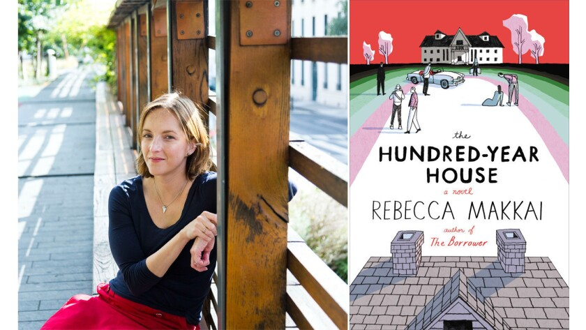 """Author Rebecca Makkai and the cover of her new novel, """"The Hundred-Year House."""""""