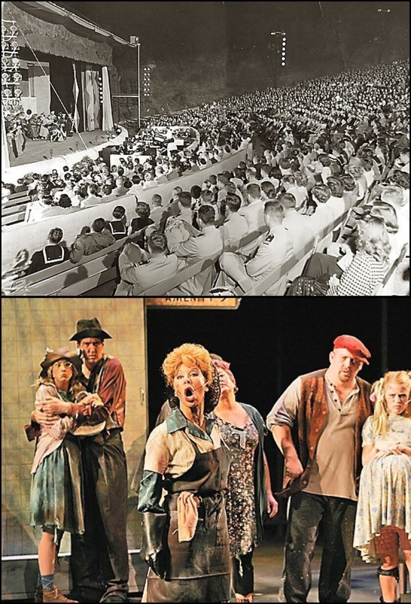 """In 1952 (top), an audience filled the Starlight Bowl for what had become a summer tradition. By 2006 (bottom), the tradition was fading as Starlight closed its 60th anniversary season with the West Coast premiere of """"Urinetown."""" (File photo; Peggie Peattie / Union-Tribune)"""