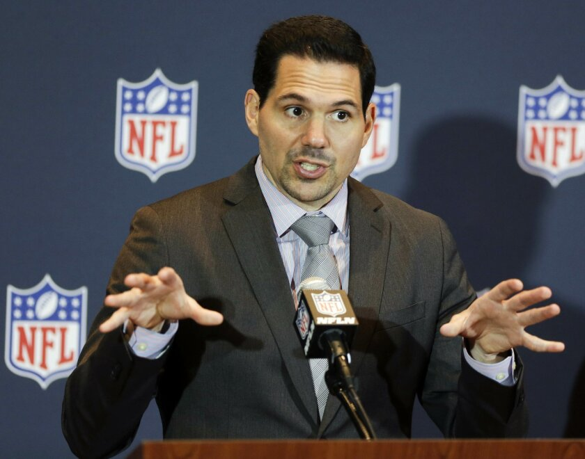 FILE - In this March 26, 214, file photo, NFL vice president of officiating Dean Blandino speaks during a news conference at the NFL football annual meeting in Orlando, Fla. Blandino, 42, has never officiated a game and joined the NFL's officiating department in '94 as an intern, working under Jerry Seeman, the longtime head of officials. Ever since, he has immersed himself in all aspects of officiating, much as a former public relations intern named Roger Goodell did in learning every facet of NFL business. (AP Photo/John Raoux, File)