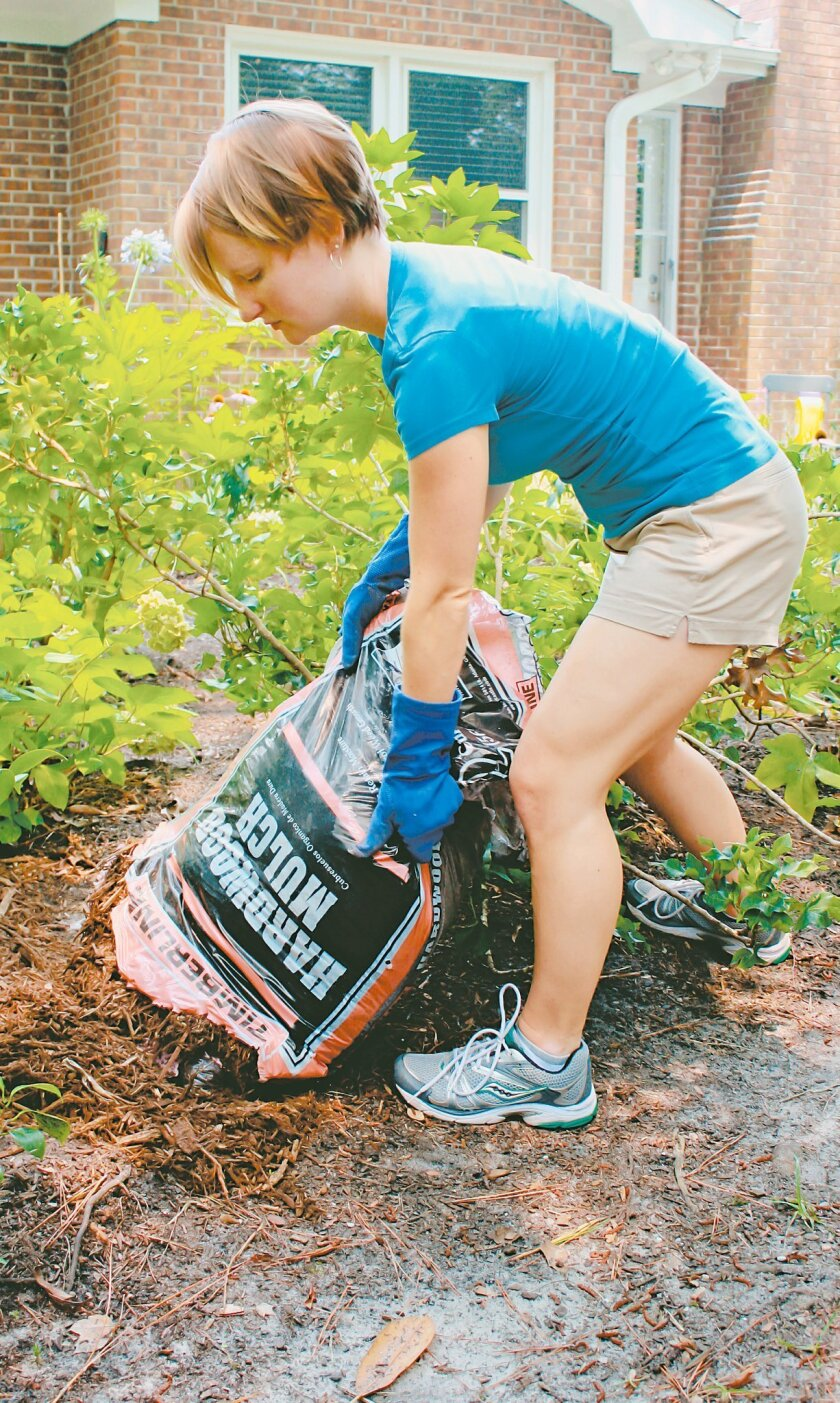 Taking the time to spread a generous layer of mulch in your garden will reduce the time that will be needed later to weed and water.